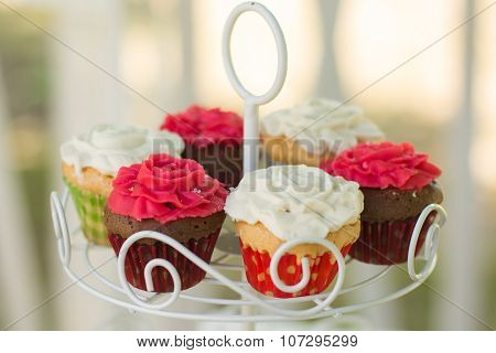 Tray with delicious cakes. Elegant sweet table with big cake, cupcakes, cake pops on dinner or event