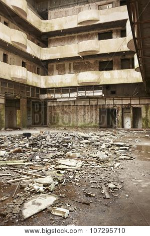 Dirty Abandoned Building Interior In Ruins In Warm Tone.
