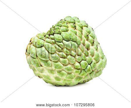 green custard apple isolated on white background