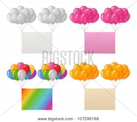 Set of balloons bunches with paper sheets