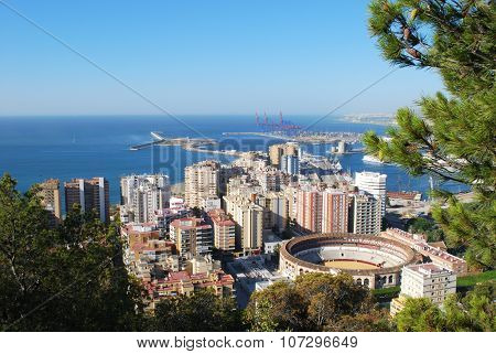Malaga Port area and bullring.