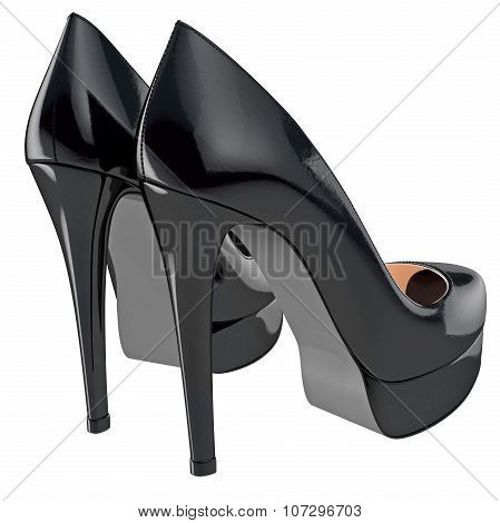 Women's black patent leather shoes on high heels