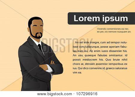 Businessman Cartoon African American Ethnic Executive Business Man over City Skyscraper