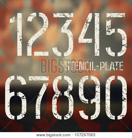 Stencil-plate Numbers In Military Style