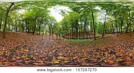 Spherical Panorama Of The Central Park In Kaliningrad (konigsberg)
