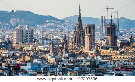 Barcelona, Spain June 30, 2015: View Over Barcelona At Sunset
