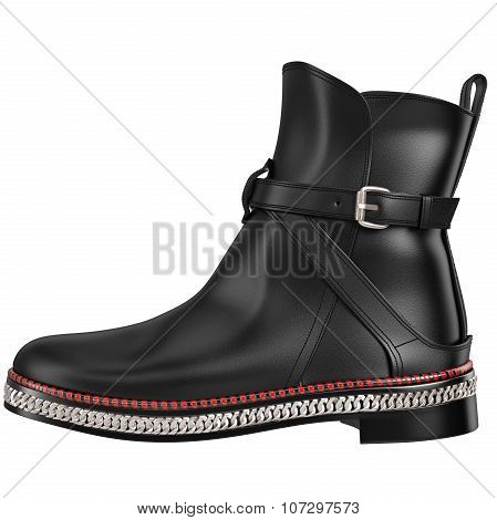 Black leather boot, side view