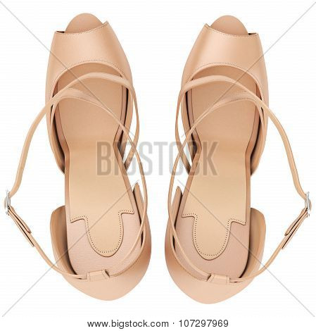 Beige sandals with heels, top view