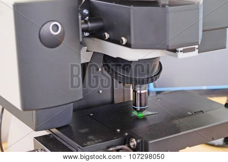 Image of the professional medical laboratory microscope. Scientific microscope lens.