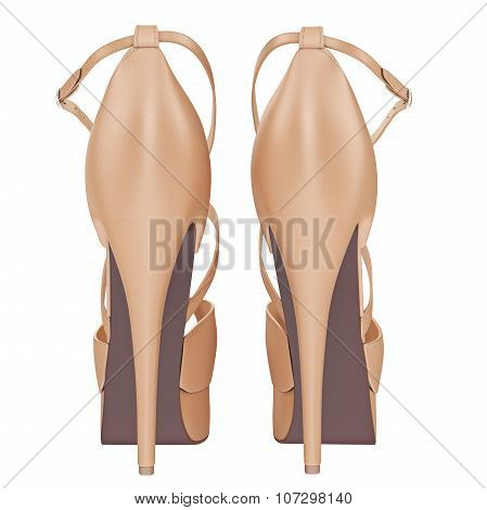 Beige leather sandals with heels, back view
