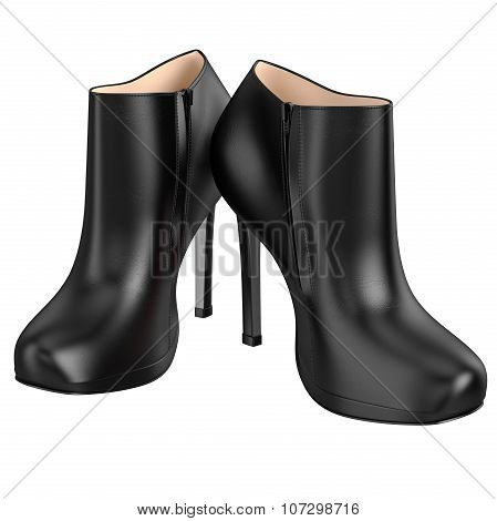 Black patent leather boots with zipper