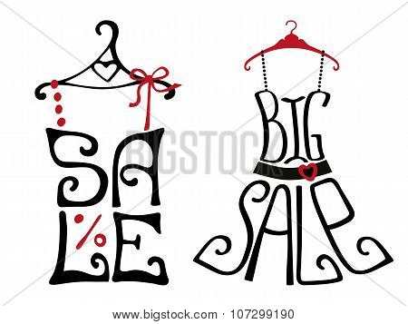 Sale lettering on shirt and dress shape.Typographic set