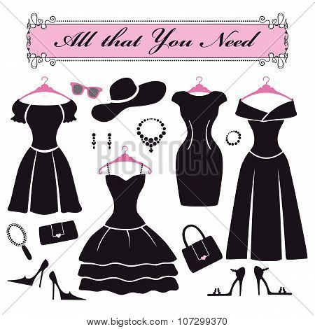 Silhouette of black party dresses.Fashion flat set