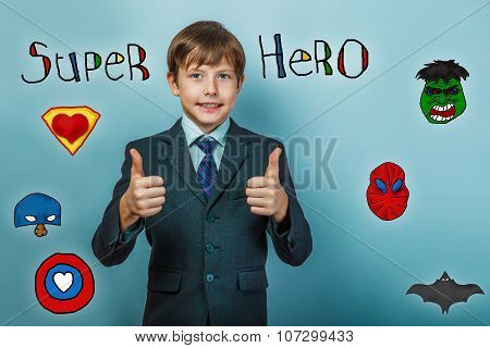 Boy in a suit style office showing sign smiling superhero and th