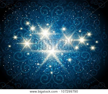 Shining Stars Blue Background
