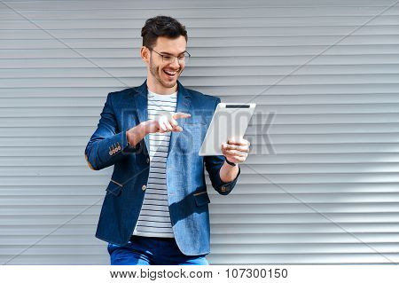 Concept for stylish young man outdoors