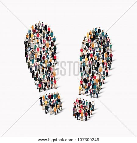 large group  people shape  traces