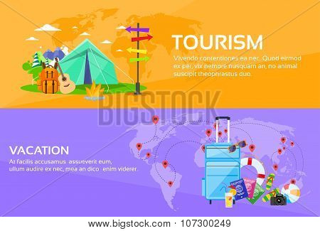 Tourism Travel Vacation Trip Destinations World Map Tent