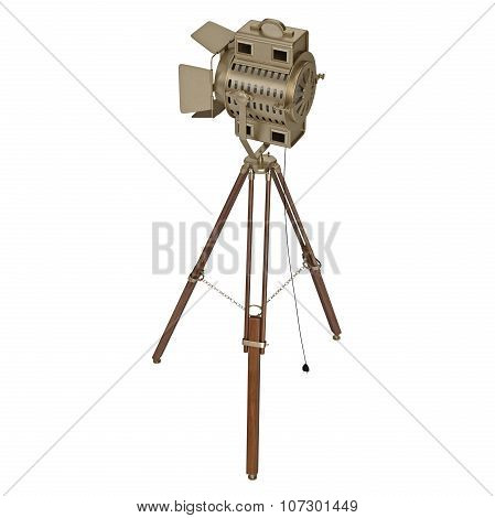 Stage lamp with wooden tripod