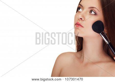 Girl Applying Make Up With Brush