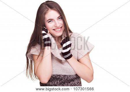 Preatty Woman With Fingereless Glowes And Winter Clothes