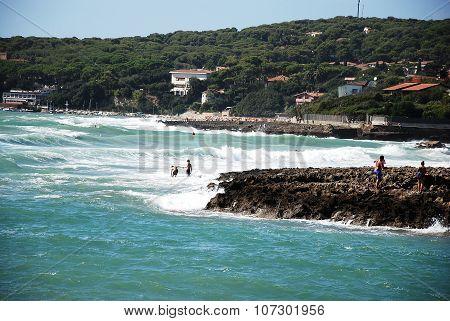 Rocky coastline on a nice sunny day