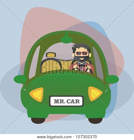 Flat cartoon charachter driver in the car