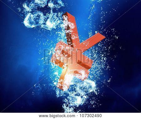 Yen sign sink in clear blue water