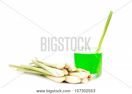 Cold Lemongrass Drink And Fresh Lemongrass