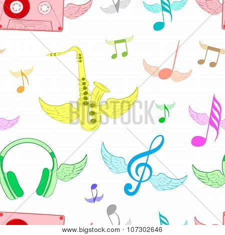 Color winged musical subjects white