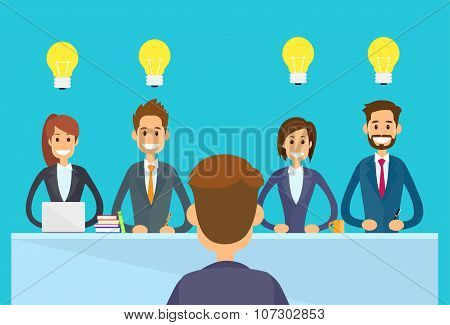 Business People Idea Concept Light Bulb Sitting Office Desk