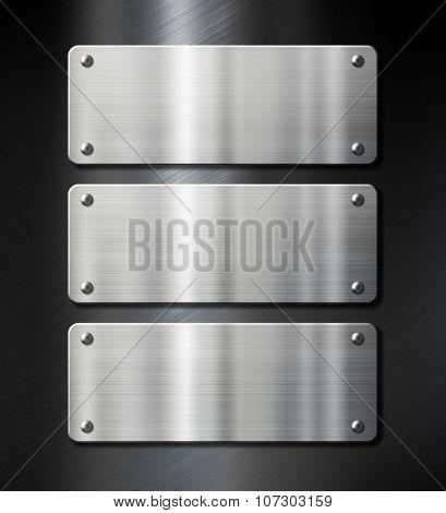 steel metal plates on black brushed background