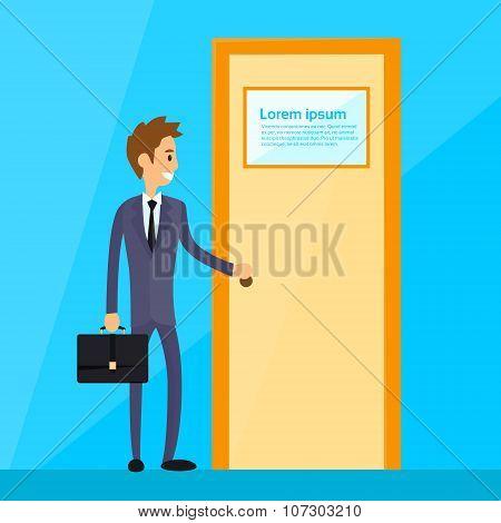 Businessman Stand Hold Handle Open Door