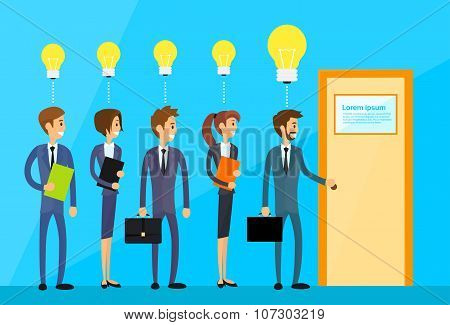 Business People Idea Concept Light Bulb Hold Door Handle Open