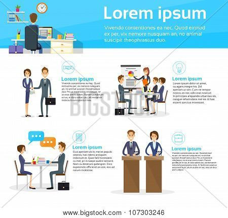 Business People Communication Working Meeting Infographics