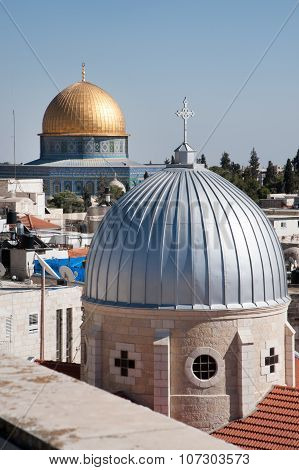 Jerusalem church and Dome of the Rock