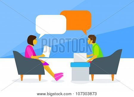 People Chat Sitting Man and Woman Talking Discussing