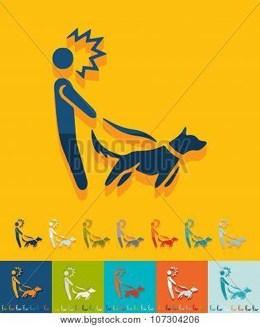 Flat design. walking the dog