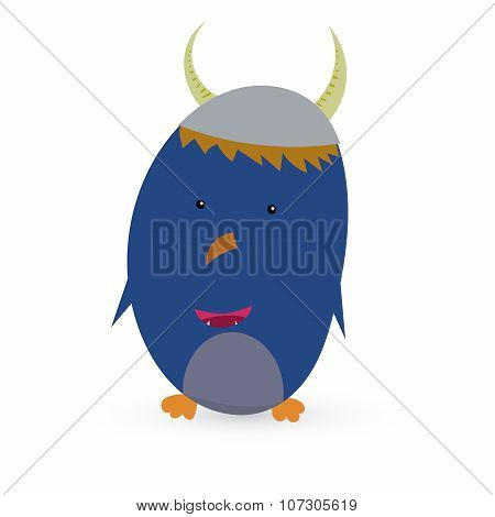 Cartoon cute monster with bow tie