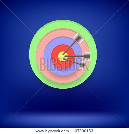 Arrow Hit Right on Target.  Achieving  Goal
