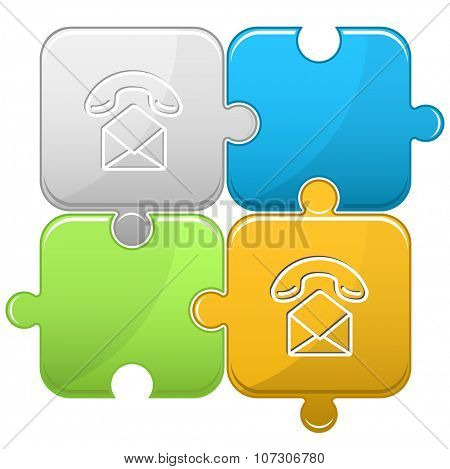 open mail with handset. Raster puzzle.