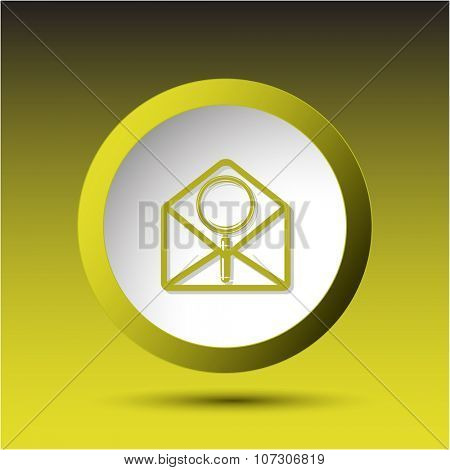 open mail with magnifying glass. Plastic button. Raster illustration.