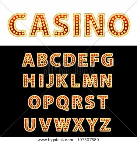 vector golden and red entertainment or casino letters with bulb lamps