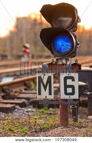 A Semaphore On Railway Lit Blue Light