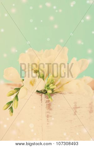 Beautiful freesias in wooden box, on blue background