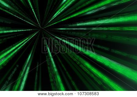 Starburst Matrix Code On White Background, With Speed Motion Blur