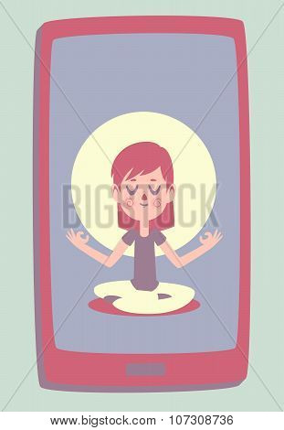 Smartphone With A Photo Of A Cute Girl Meditating