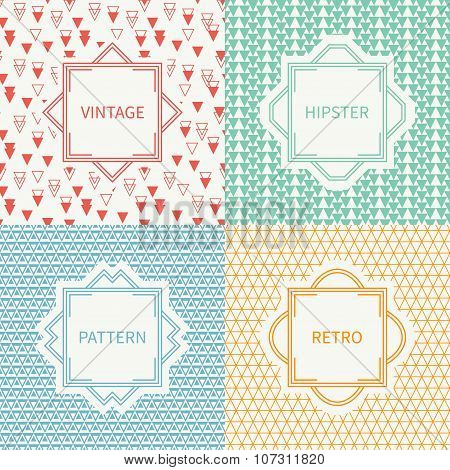 Set of mono line polygon hipster seamless pattern with triangle. Vintage frames in red, green, blue,
