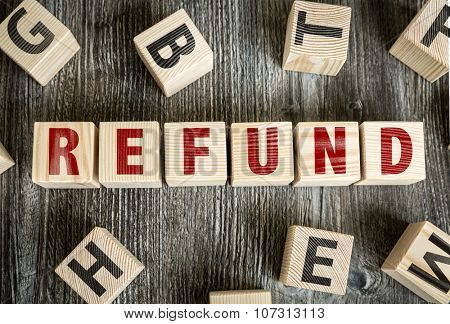 Wooden Blocks with the text: Refund
