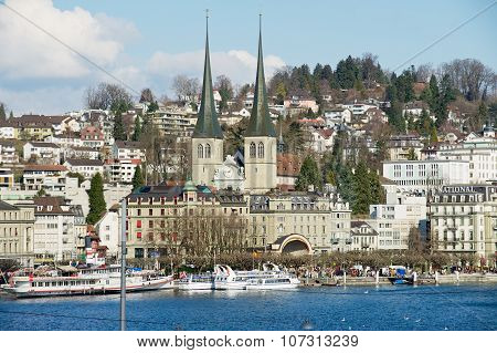 View to the church of St. Leodegar and Lucerne city in Lucerne, Switzerland.